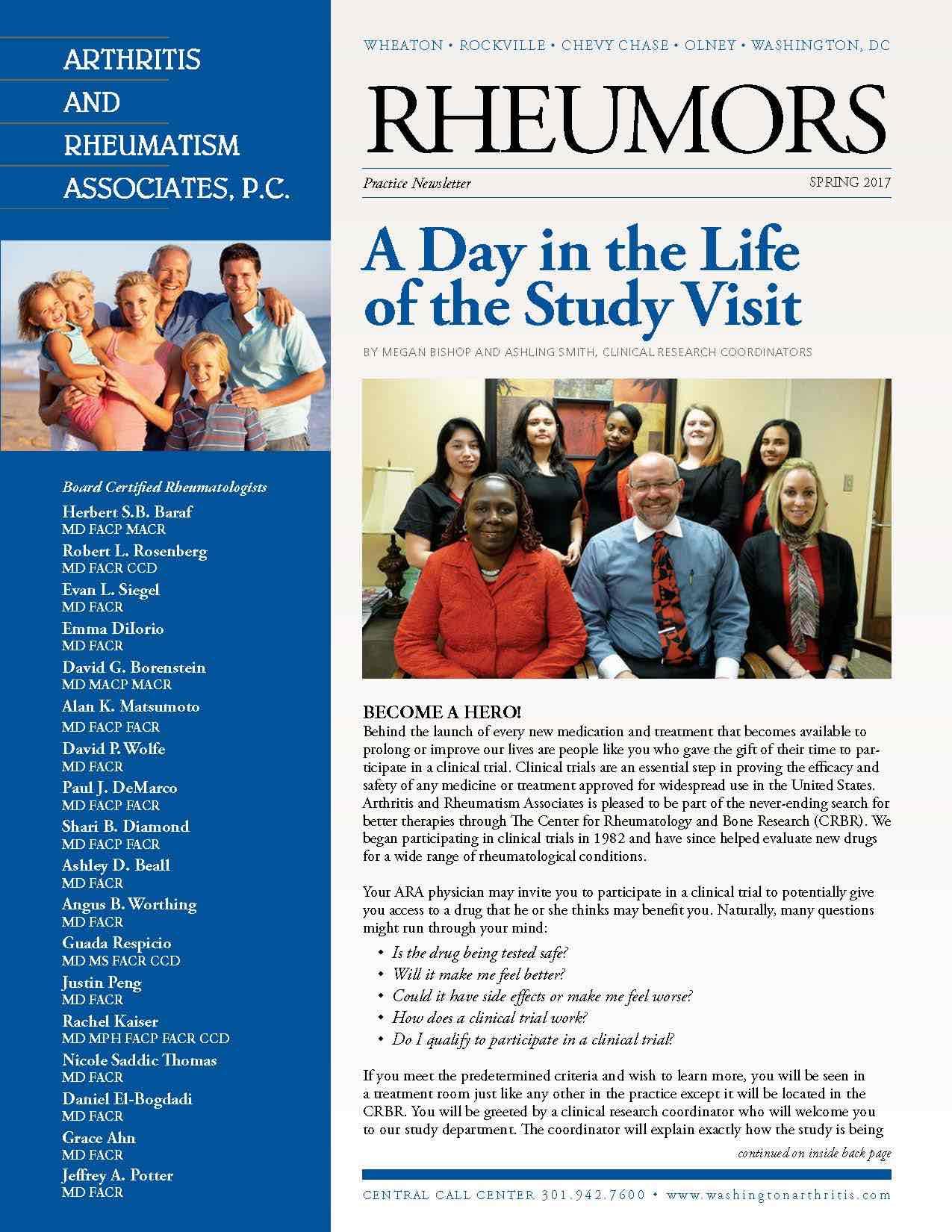 Arthritis and Rheumatism Associates, PC, physician newsletter, rheumatology newsletter, Rheumors