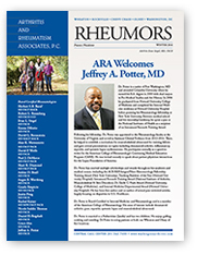 Arthritis and Rheumatism Associates, PC, physician newsletter, rheumatology newsletter, Rheumors